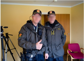A patrol of two police officers wearing subcams